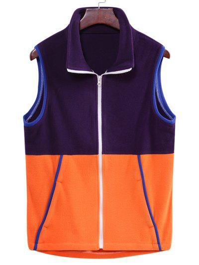 Colorblock Zipper Fleece Vest - Purple Iris L