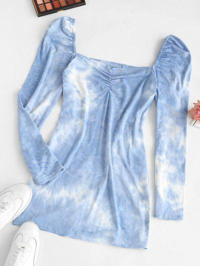Tie Dye Ruched Mini Bodycon Dress - Blue S
