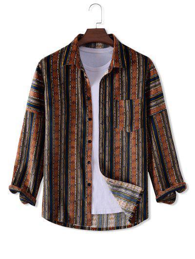 Geometry Pattern Long Sleeve Corduroy Shirt - Multi M