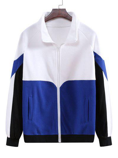Colorblock Fleece Raglan Sleeve Jacket - White M