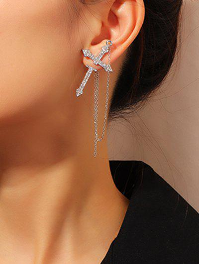 Rhinestone Cross Chain Single Earring - Silver