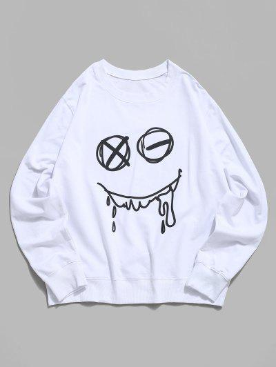 Halloween Funny Face Lounge Crew Neck Sweatshirt - White Xs