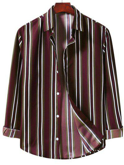 Button Up Vertical Stripe Shirt - Red Wine Xl
