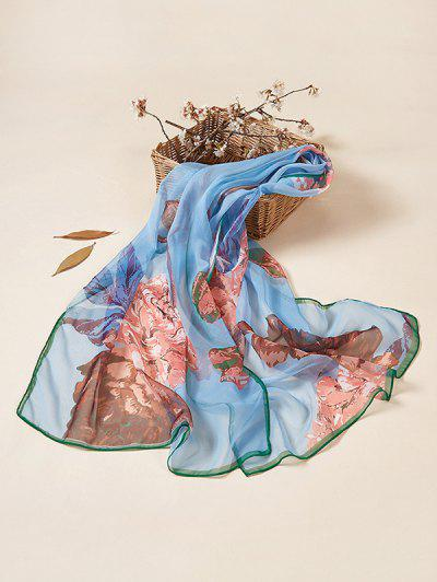 Bufanda Larga Estampado Floral - Azul De Seda