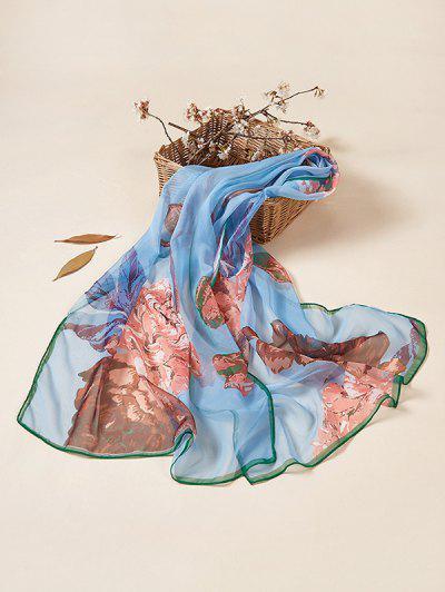 Floral Print Sun Protective Long Scarf - Silk Blue