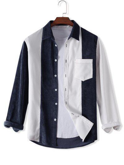 Colorblock Turn-down Collar Corduroy Jacket - White 2xl
