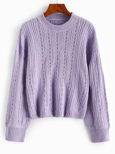 Openwork Drop Shoulder Plain Sweater - Light Purple