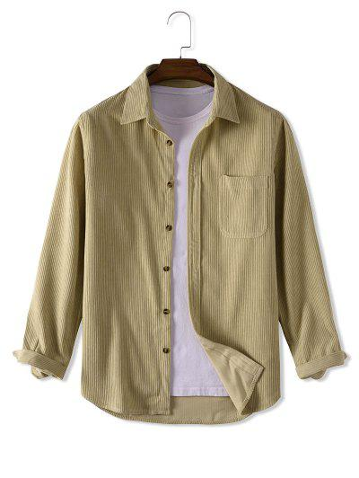 Button Up Solid Color Corduroy Jacket - Light Yellow L
