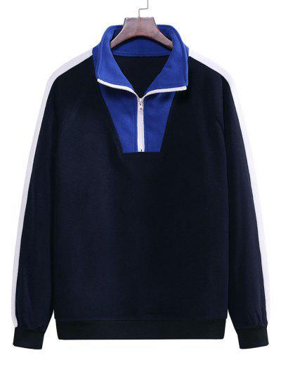 Colorblock Half Zip Raglan Sleeve Fleece Sweatshirt - Midnight Blue 2xl
