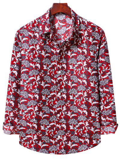 Flower Print Long Sleeve Casual Shirt - Lava Red L