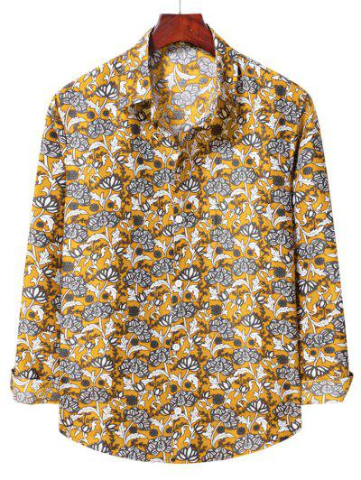 Flower Print Long Sleeve Casual Shirt - Bee Yellow L