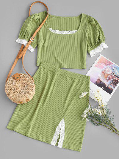 Broderie Anglaise Ribbed Slit Skirt Set - Green M