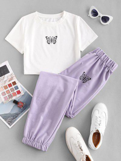 Butterfly Graphic Two Piece Jogger Pants Set - Light Purple S