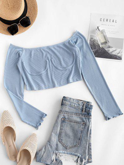 ZAFUL  Ribbed Off Shoulder Knitwear - Blue Gray L