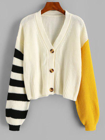 Striped Drop Shoulder Colorblock Cardigan - White