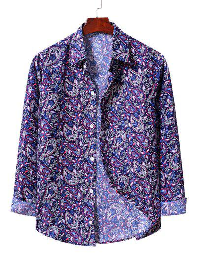 Casual Paisley Print Shirt - Blueberry Blue 2xl