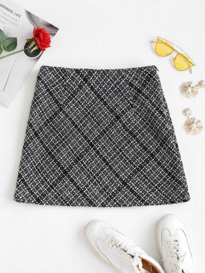 ZAFUL Tweed Mini A Line Skirt - Black S