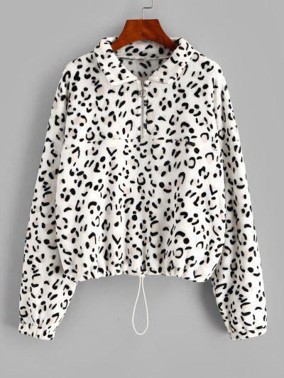 ZAFUL Leopard Half Zip Drop Shoulder Plush Sweatshirt - White M
