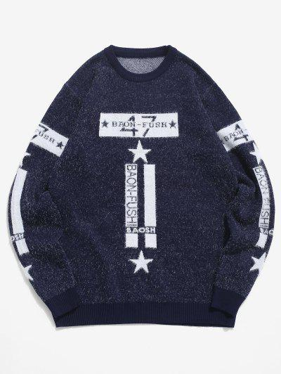 Fuzzy Knit Letter Star Graphic Pullover Sweater - Cadetblue S