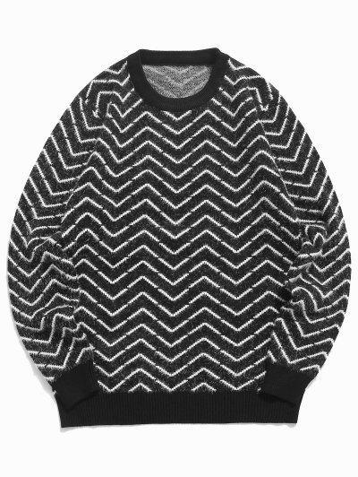 クルーネックシェブロンパターンファジーセーター - 黒 M