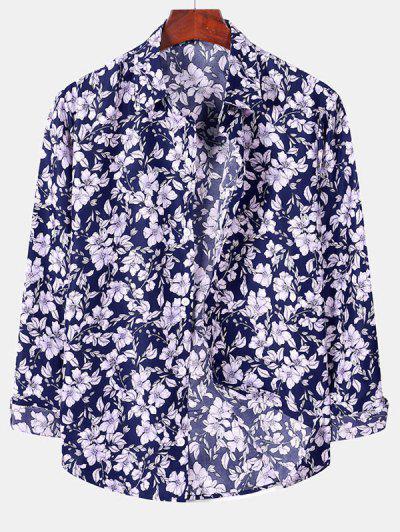 Casual Floral Print Button Up Shirt - Denim Dark Blue S