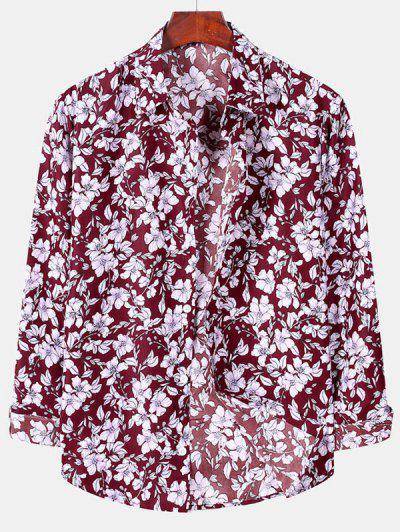 Casual Floral Print Button Up Shirt - Red Wine Xl