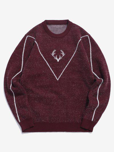 Fuzzy Knit Elk Horn Graphic Ribbed Hem Sweater - Red Wine M
