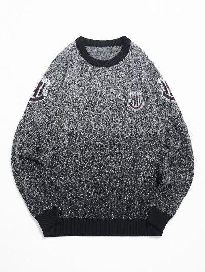 ファジーニット斑入りグラフィックリブ裾セーター - 黒 M