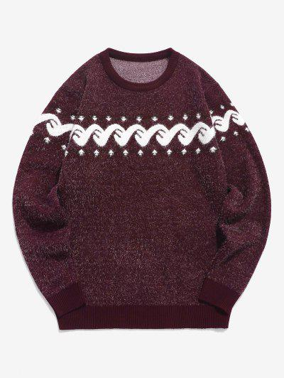 Fuzzy Graphic Ribbed Hem Knitted Jumper Sweater - Red Wine Xs