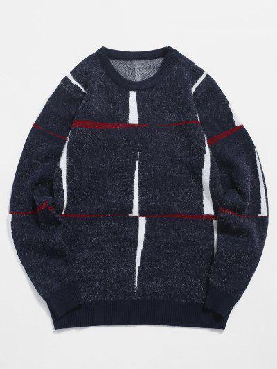 Flaumiger Pullover Mit Rundhalsausschnitt Und Grafik - Kadettenblau M