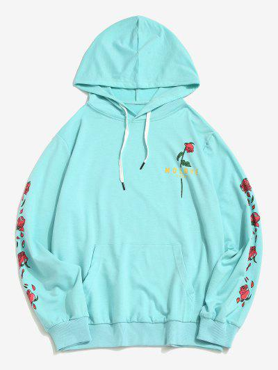 Kangaroo Pocket Flower Print Graphic Hoodie - Light Blue L
