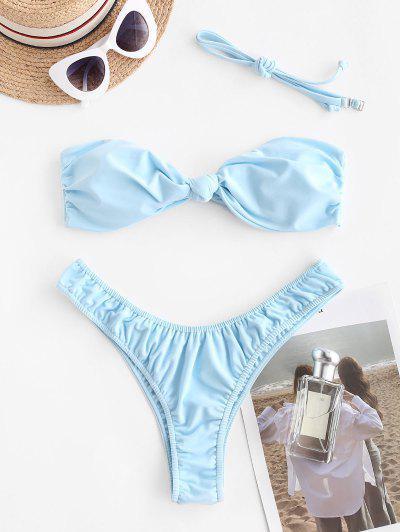 ZAFUL Bikini De Baño Anudado En Espalda Con Lazo Anudado - Azul Claro S