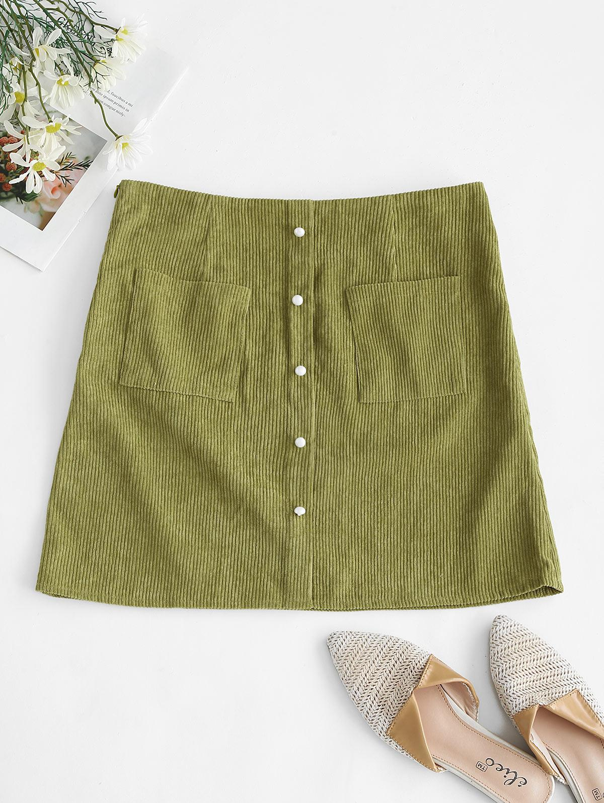 ZAFUL Corduroy Patch Pocket Mock Button Skirt