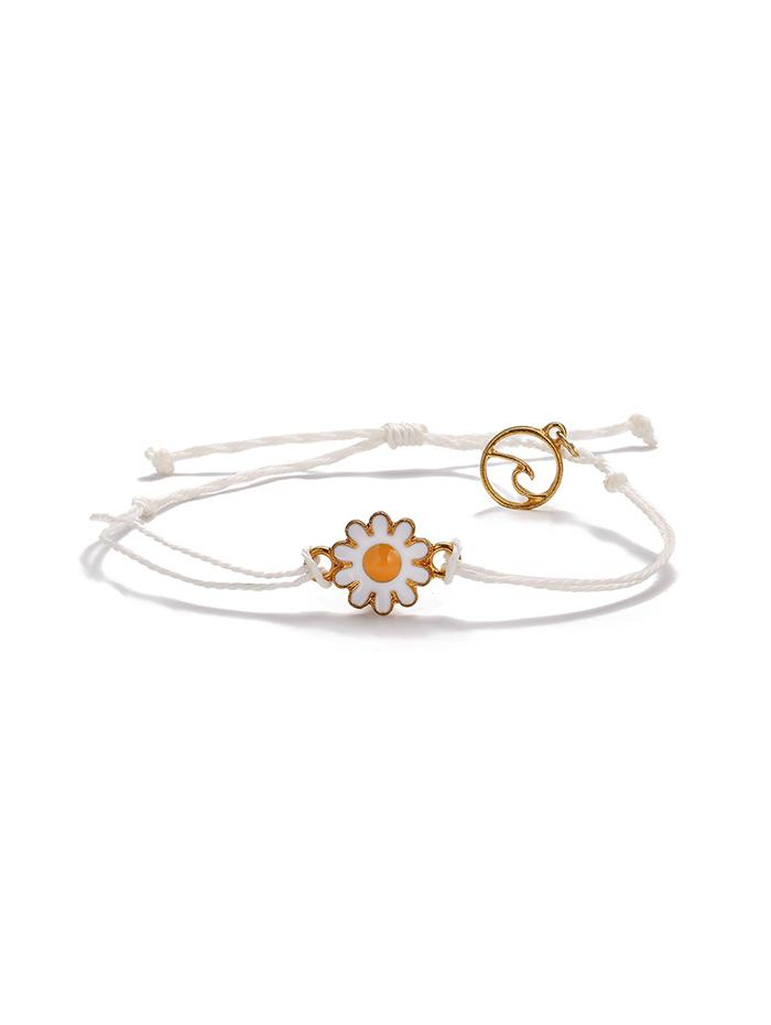 Daisy Floral Adjustable Rope Bracelet