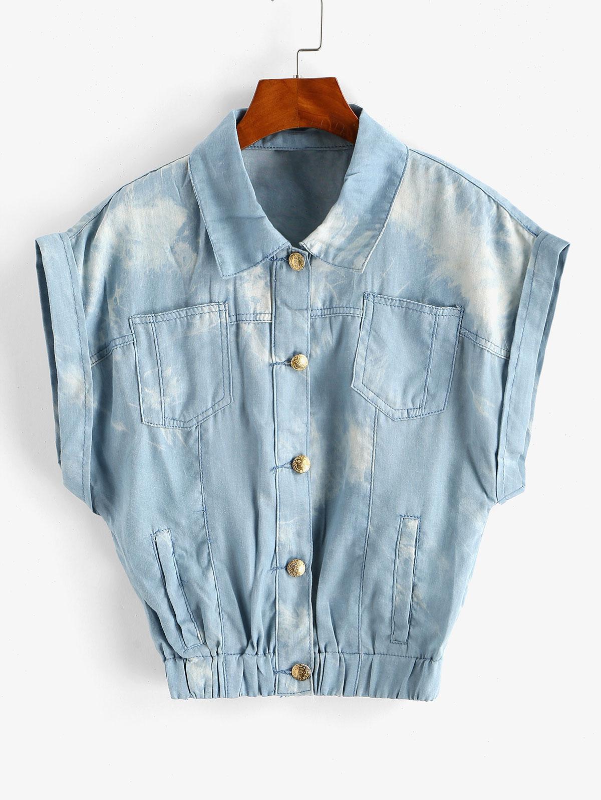 Tie Dye Chambray Pocket Cuffed Vest