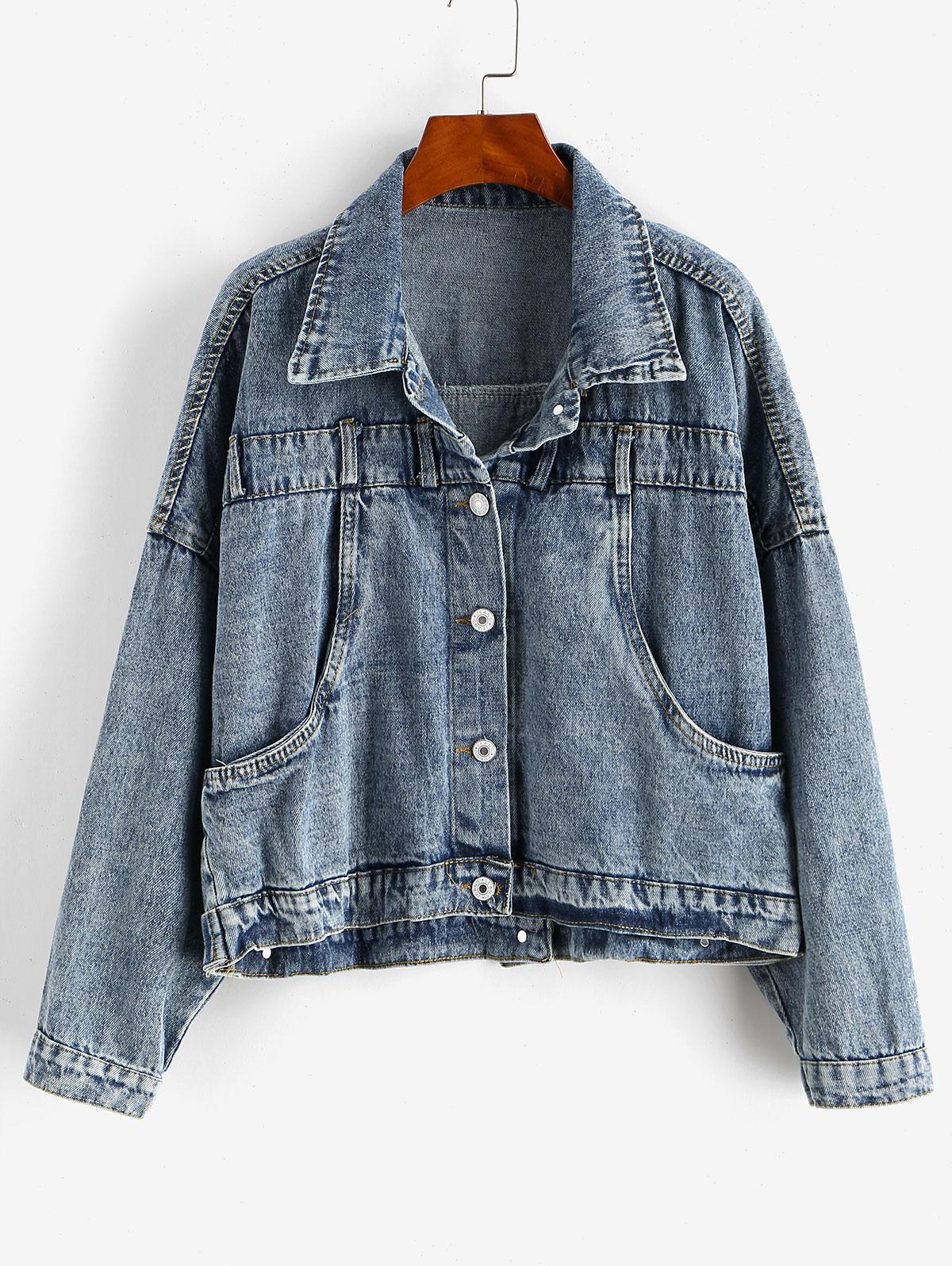 Buttoned Back Drop Shoulder Pocket Denim Jacket