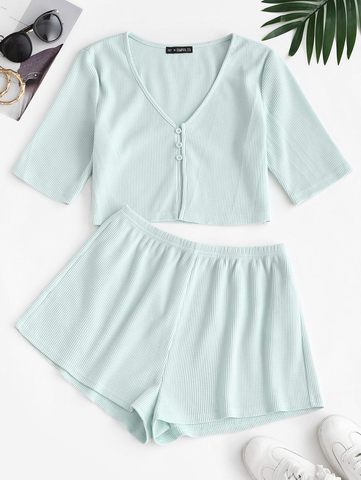ZAFUL Knitted Loop Button Plunge Two Piece Set
