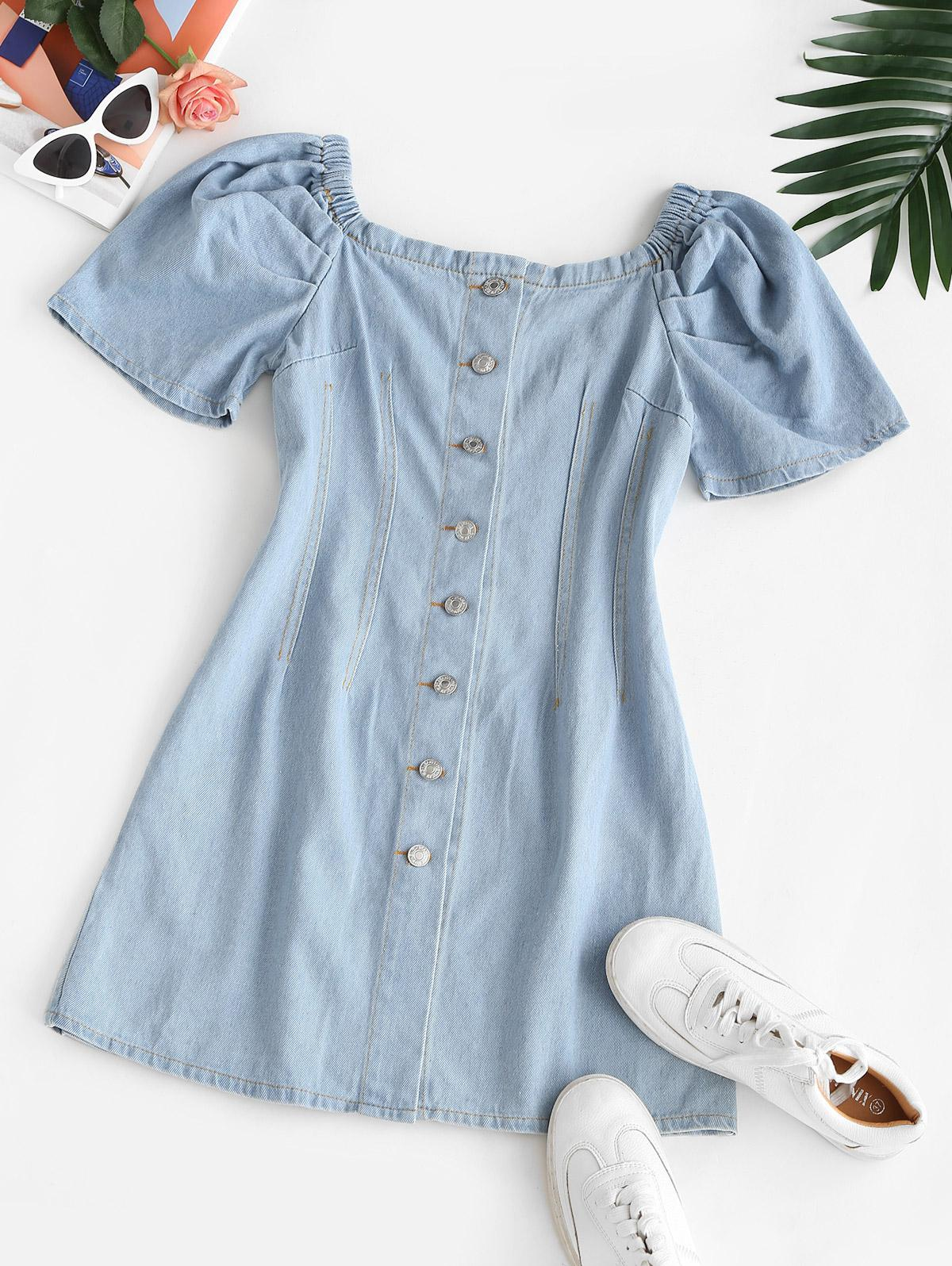 Puff Sleeve Button Through Denim Dress