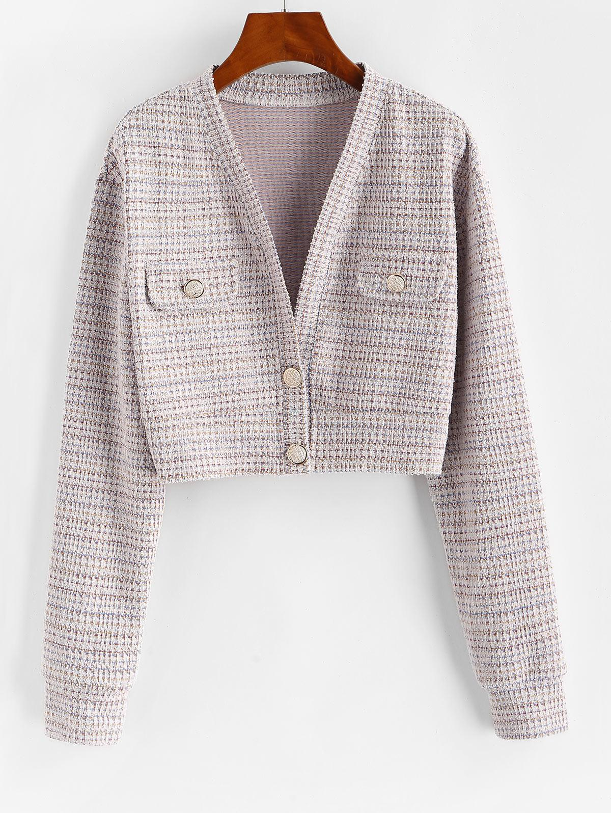 Two Button Flap Detail Tweed Blazer