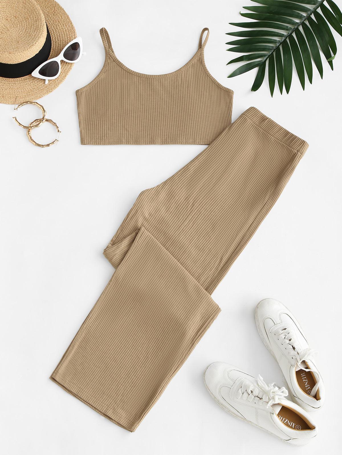 Ribbed Cami Crop Top and Wide Leg Pants Set