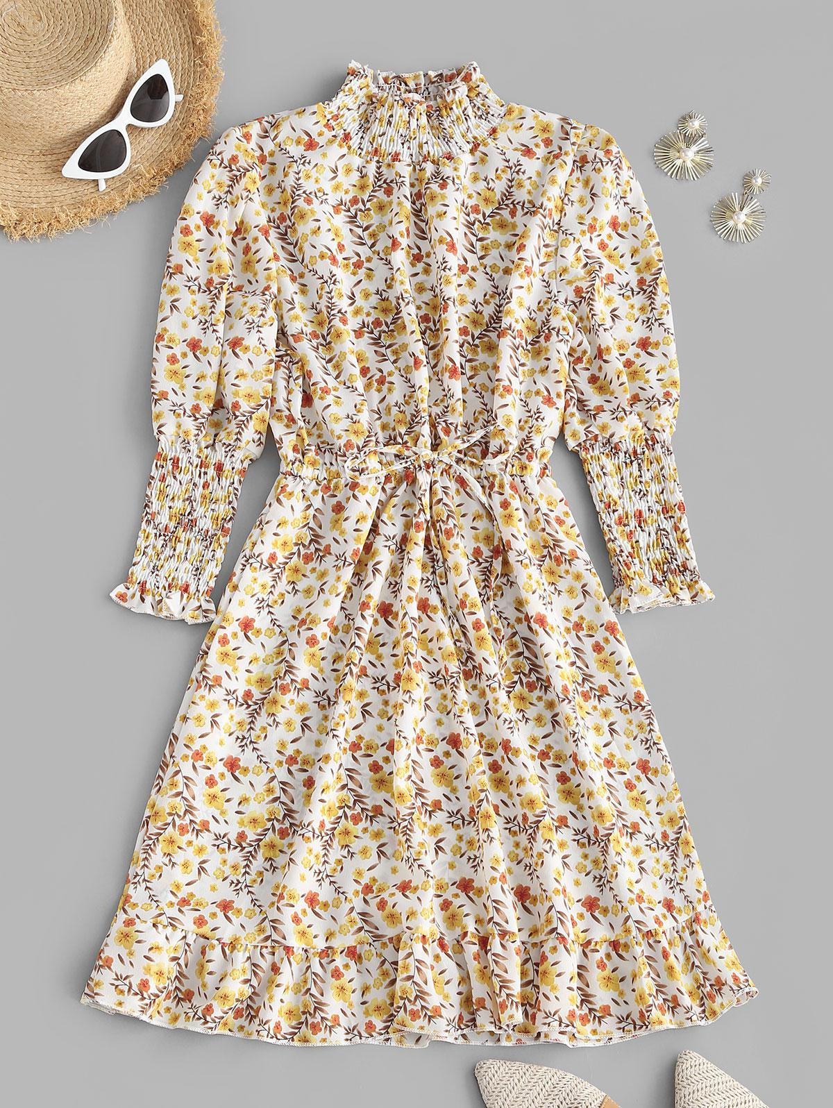Floral Smocked Puff Sleeve Flounce Dress