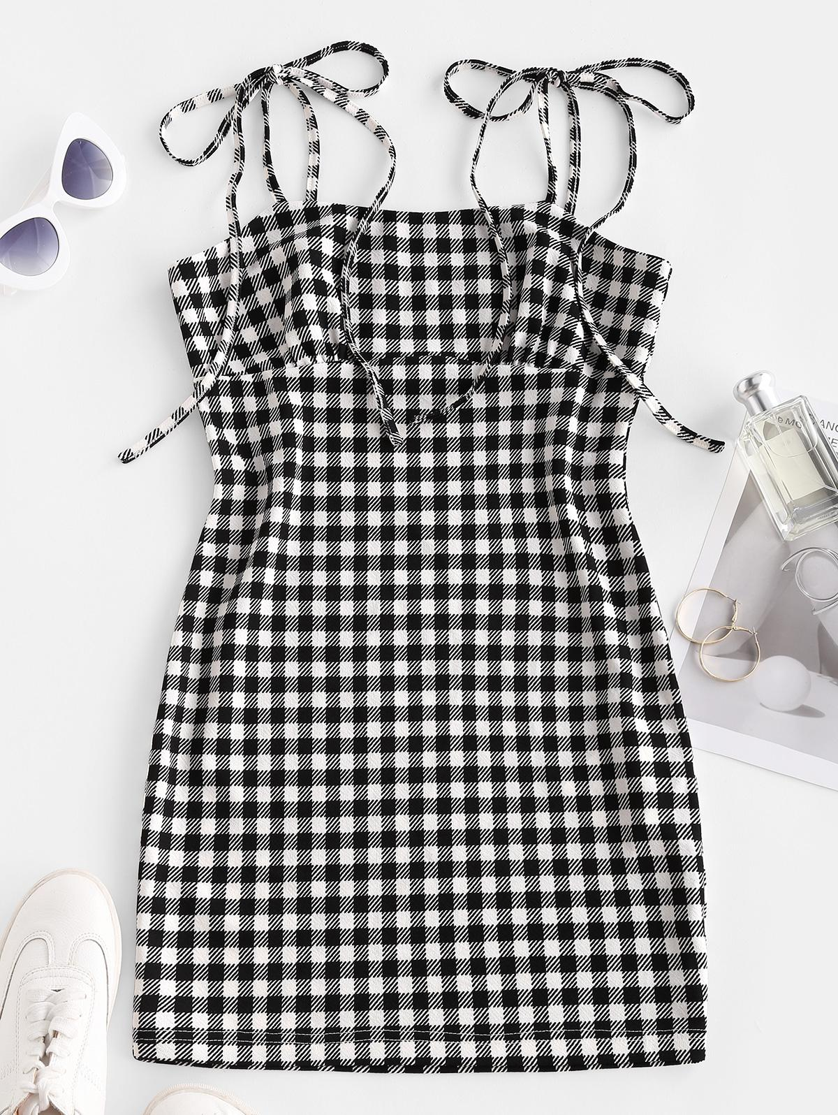 ZAFUL Checked Tie Shoulder Bodycon Dress