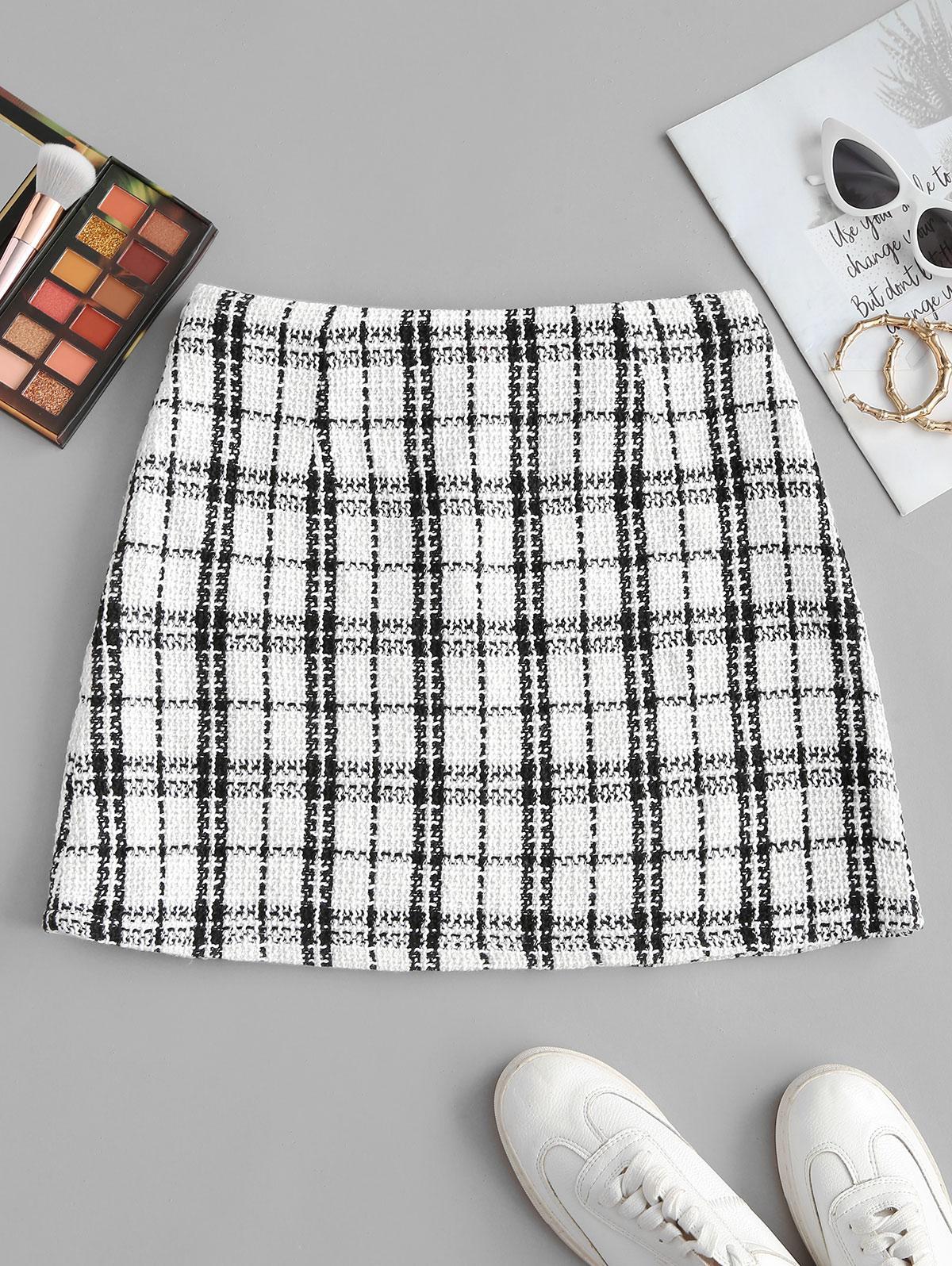 ZAFUL Plaid Mini Tweed Skirt, White