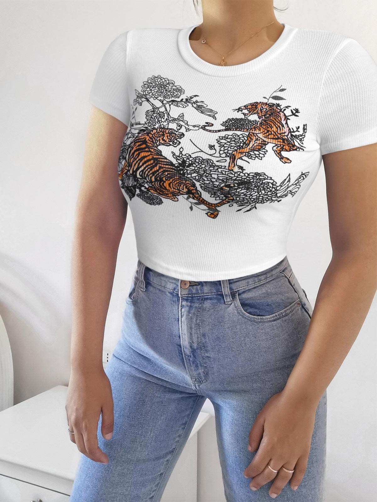 Tiger Floral Print Ribbed Crop Tee