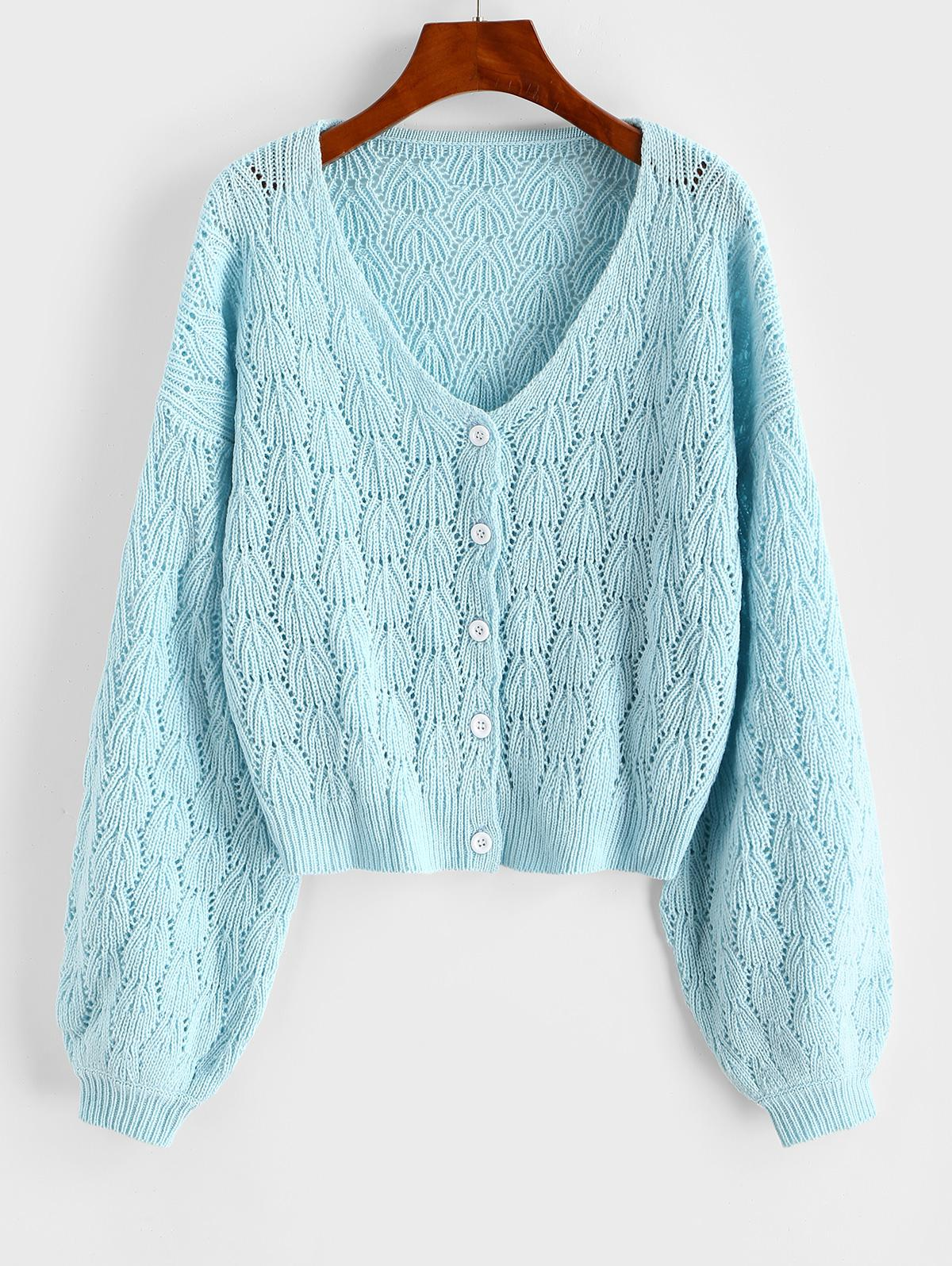 Openwork Drop Shoulder Button Up Cardigan