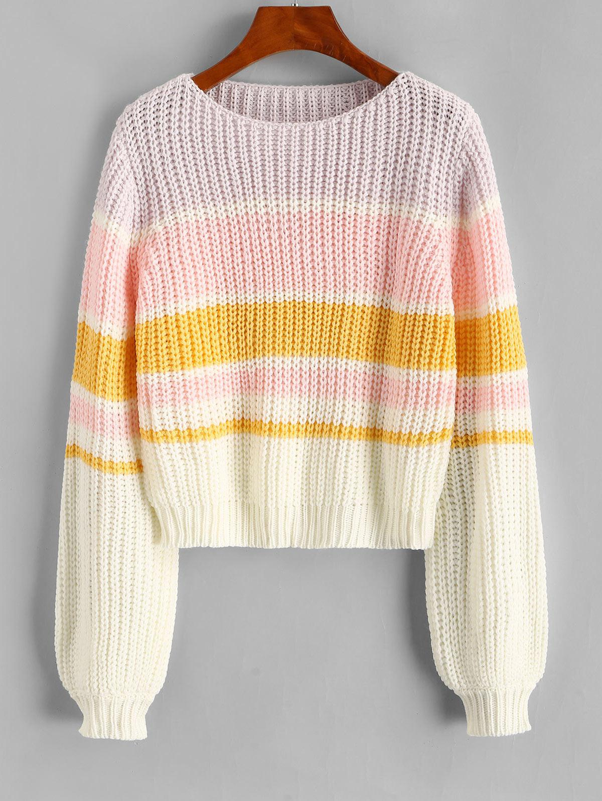 Colorblock Lantern Sleeve Chunky Sweater