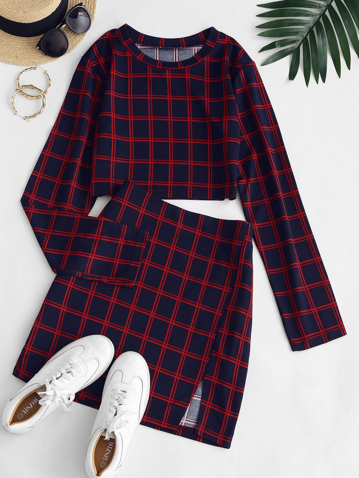 Plaid Slit Long Sleeve Skirt Set