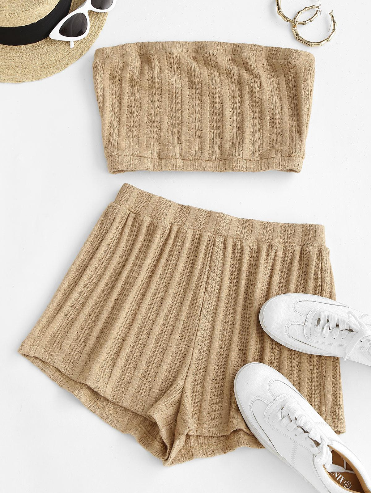 ZAFUL Strapless Knitted Co Ord Set