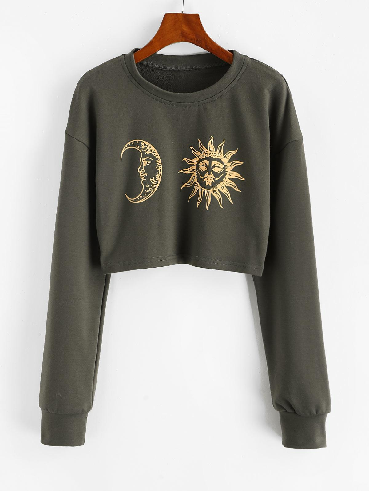Sun Moon Print Cropped Sweatshirt