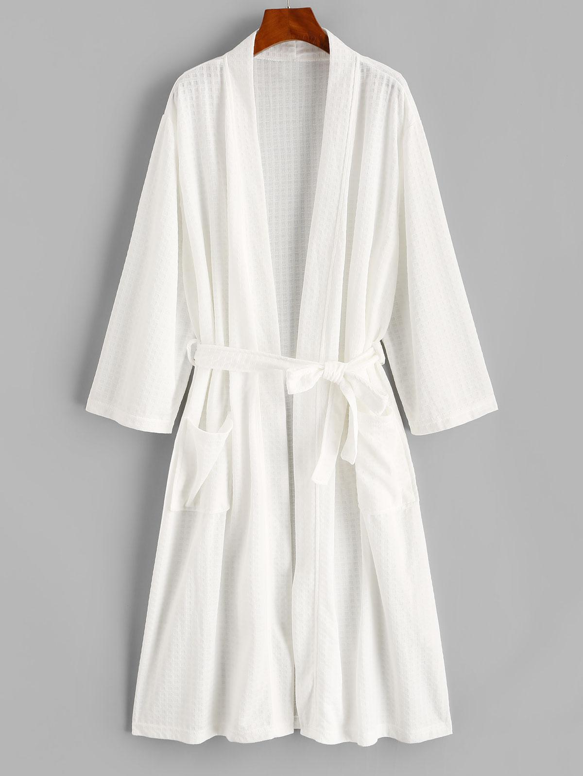 Belted Textured Dual Pocket Longline Robe